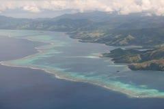 Las Islas Fiji desde arriba de la visión aérea Vanua Levu fotografía de archivo libre de regalías