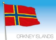 Las Islas Orcadas señalan por medio de una bandera, Reino Unido Imagenes de archivo