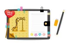 Las jirafas yo y de la mamá con amor amarillean el cuaderno Imágenes de archivo libres de regalías