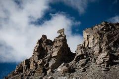 Las karmas disminuyen el cielo y las nubes de Tíbet de la montaña de Himalaya Fotografía de archivo