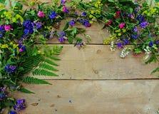 Las kwitnie na drewnianym tle Obraz Royalty Free