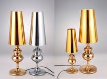 Las lámparas de mesa de oro y de plata, tabla de lujo se encienden Fotos de archivo libres de regalías