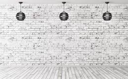 Las lámparas sobre el fondo interior 3d de la pared de ladrillo rinden Imagen de archivo