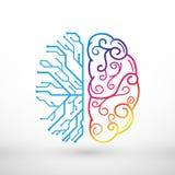 Las líneas abstractas cerebro izquierdo y derecho funcionan concepto stock de ilustración