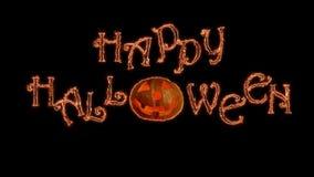Las líneas curvadas se arrastran y recolectan a los saludos del feliz Halloween Fondo negro almacen de metraje de vídeo
