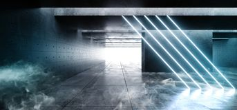 Las líneas neón de la niebla del humo del laser encienden cinemático azul blanco del espacio del hormigón del Grunge del garaje d ilustración del vector
