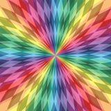 Las líneas poligonales iridiscentes se entrecruzan en el centro Modelo transparente colorido Fondo abstracto geométrico del arco  stock de ilustración