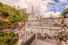 Las Lajas Catholic Sanctuary, Colombia. Las Lajas Colombian Catholic Church, Built Between 1916 And 1948 Is A Popular Destination For Religious Believers From Stock Image