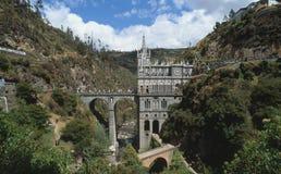 Las Lajas Church Colombia. Santuario de Nuestra Senora de Las Lajas is located seven kilometres from Ipiales in southwest Colombia. Built between 1916 and 1948 royalty free stock images