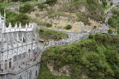 Las Lajas - gothic church in Colombia. Royalty Free Stock Images