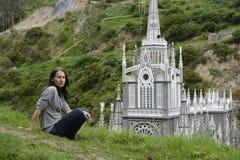Las Lajas - iglesia gótica en Colombia Foto de archivo
