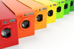 Las lavadoras certificaron en las clases enérgicas de rendimiento energético aisladas Fotos de archivo libres de regalías