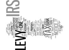 Las legalidades y los problemas con un concepto del Irs Levy Text Background Word Cloud Fotos de archivo