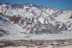 Las lenas ski resort in Argentina. Bright winter day in Las Lenas, ski resort, in the high mountains, Mendoza province, Argentina Royalty Free Stock Photo