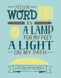 Las letras bíblicas su palabra son una lámpara para mis pies, una luz en mi trayectoria ilustración del vector