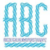 Las letras condensadas minúsculas del alfabeto inglés del vector que la colección hizo usando ondulan líneas ilustración del vector