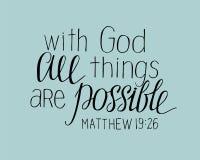 Las letras de la mano con dios todas las cosas son posibles libre illustration