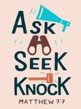 Las letras de la mano con verso de la biblia piden búsqueda golpes stock de ilustración