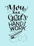 Las letras de la mano con verso de la biblia usted es obra de dios s stock de ilustración