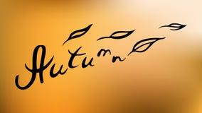 Las letras de la mano del otoño aisladas en naranja abstracta empañaron el fondo de la malla de la pendiente Ejemplo de las hojas stock de ilustración