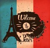 Las letras de la mano son un cartel en el tema del viaje y de la aventura en el extranjero Francia y atracciones de París Vector ilustración del vector