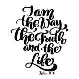 Las letras de la mano soy la manera, la verdad y la vida, Juan 14 6 Fondo bíblico Nuevo testamento Verso cristiano, vector stock de ilustración