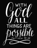 Las letras de la mano y el verso de la biblia con dios todas las cosas son posibles en fondo negro stock de ilustración