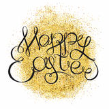 Las letras de oro del fondo que brillan y de la mano mandan un SMS a Easte feliz stock de ilustración