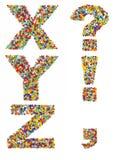 Las letras del alfabeto X a través de Z y de signos de puntuación hicieron f fotografía de archivo