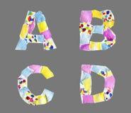 Las letras del collage de A a D hicieron del papel aislado en backg gris imágenes de archivo libres de regalías