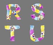Las letras del collage de R a U hicieron del papel aislado en backg gris fotos de archivo libres de regalías