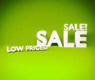las letras del texto de los precios bajos de la venta 3d rinden Imágenes de archivo libres de regalías