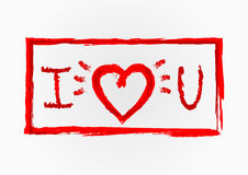 Las letras I y U, silueta del corazón, marco rasgado stock de ilustración