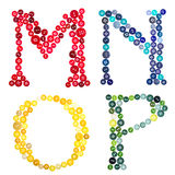 Las letras M, N, O, P hecho de botones Imagenes de archivo
