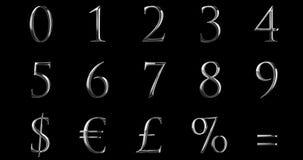 Las letras numéricas metálicas de la plata del amarillo de la fuente del vintage redactan series del texto con el euro, dólar, el libre illustration