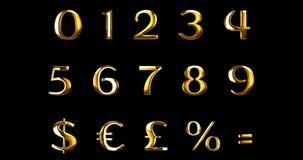 Las letras numéricas metálicas del oro amarillo del vintage redactan series del texto con el dólar, el por ciento, muestra del sí