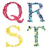 Las letras Q, R, S, T hecho de botones Imagen de archivo libre de regalías