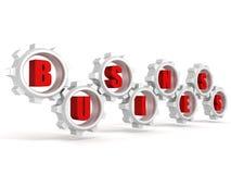 Las letras rojas del texto del negocio del concepto en trabajo conectado adaptan Foto de archivo libre de regalías