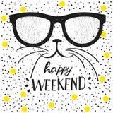 Las letras tipográficas del fin de semana del cartel del diseño hola y la caligrafía moderna citan Gato divertido con los vidrios Fotografía de archivo libre de regalías