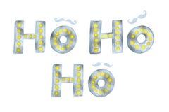 Las letras y el bigote modernos elegantes del cepillo de Ho Ho Ho Gold que brillan y de la plata diseñan en un vector del fondo d Fotografía de archivo libre de regalías