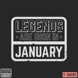 Las leyendas son en enero sello nacido de la camiseta del vintage stock de ilustración