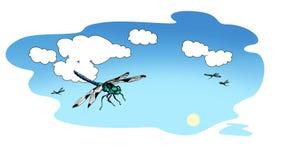 Las libélulas azulverdes vuelan contra la perspectiva del cielo del verano con las nubes de cúmulo blancas Ilustración de la tram ilustración del vector
