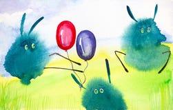Las liebres abstractas verdes del descenso juegan con los globos en el c?sped verde Ejemplo c?mico de la acuarela libre illustration
