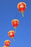 Las linternas chinas rojas adornan en Chinatown de Thaiand durante Foto de archivo libre de regalías