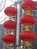 Las linternas rojas muestran la atmósfera del Año Nuevo chino fotos de archivo libres de regalías
