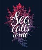 Las llamadas del mar a mí stock de ilustración