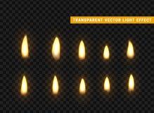 Las llamas del fuego fijadas aislaron realista Efecto transparente de los vectores del fondo libre illustration