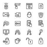Las llaves y las cerraduras enrarecen la línea sistema del icono Vector