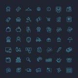 Las líneas finas iconos del web fijaron - el comercio electrónico, haciendo compras Imagen de archivo libre de regalías
