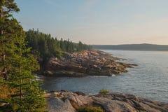 Las losas rosadas del granito alinean Maine Shoreline y el pequeño soldado tr Imagen de archivo